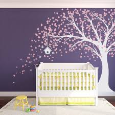Large Windy Nursery Tree Decal with Birdhouse- Carnation Pink and ...