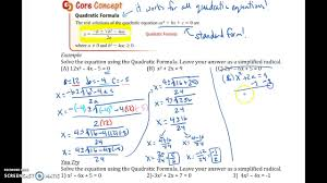 9 5 solving quadratic equations using the quadratic formula