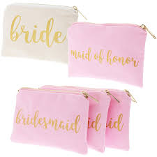 amazon bridal shower makeup bag 5 pack cosmetic pouches for wedding favors bachelorette party gifts and bridal shower accessories
