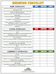 Behavior Checklist School Behavior Chart Home Behavior