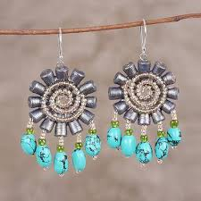 recycled paper and glass beaded dangle earrings grey fl twirl handmade recycled