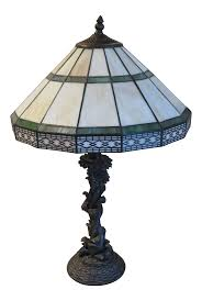 Stained Slag Glass Mission Craftsman Style Arts And Crafts Table Lamp With Flower Design Base