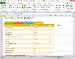 Monthly Schedule Excel Template Free Monthly Meal Planner For Excel