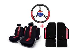sparco seat cover black red car mat steering wheel cover combo deals car