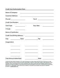 Credit Card On File Authorization Form Template Together With Credit