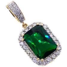 mens diamond emerald halo drop pendant