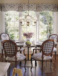 french country dining room decor ideas. i love the feel of this room, mix fabrics, wood floors all white moldings with furniture. also simple window treatment. french country dining room decor ideas