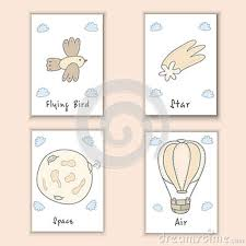 Cute Hand Drawn Doodle Postcards With Bird Comet Moon Balloon