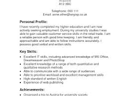 Professional Profile In Resumes Sample Profile Resume Best Example Resumes Cover Letter Template For