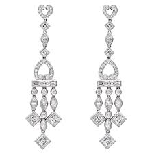 diamond chandelier earrings in platinum composed of six larger square cut diamonds weighing 2 42 total carats four smaller square cut diamonds weighing