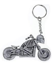 CMJ <b>Skeleton Riding Motorbike</b> Keyring Skull 3D Rubber ...