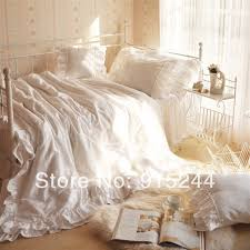 white ruffle romantic lovely bedding 4pcsset glamour king bedding sets queen beach bright city comforter satin s