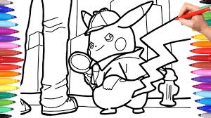 Detective Pikachu Coloring Pages For Kids How To Draw Pokèmon