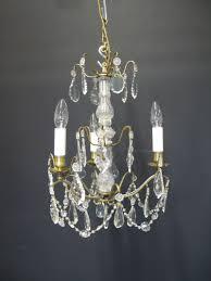 3 arm french brass chandelier ca 1910