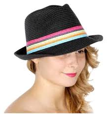 fedora Womens Fedora Hat With Color Band Summer Beach hat Black with - Tradesy