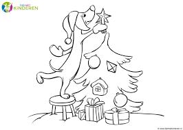 Kerst Hondje Kleurplaat