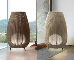 bover lighting. Bover Lighting Amphora Outdoor Floor Lamp With Weaved Shade. Left: Brown Shade, Right A