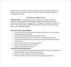free food service cashier job description pdf download food server job description