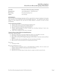 Room Attendant Job Description For Resume Sample Housekeeping Resume Cover Letter Hotel Duties Manager 1