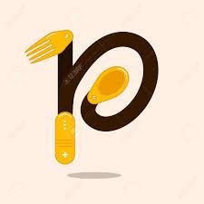Restaurant P L Example Buchstabe P Mit Löffel Und Gabel Vektor Illustration Für Ihre
