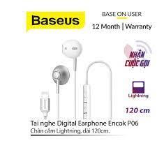 Tai nghe nhét tai Baseus P06 chân Lightning tích hợp Microphone chống ồn và  bộ điều khiển âm lượng dài 1.2M cho iPhone