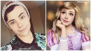 this guy transforms himself into disney princesses using his makeup skills