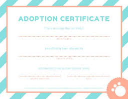 Pet Adoption Certificate Template Pink And Blue Pet Adoption Certificate In 2019 Adoption