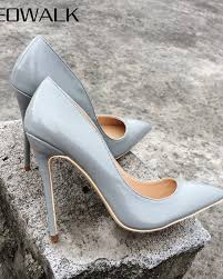 veowalk brand classic style women pointed toe high heels patent leather stis pumps fashion las cute dress shoes grey