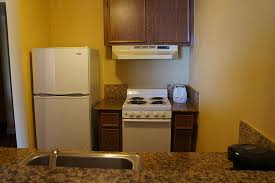 Efficiency Kitchen With Refrigerator, Stove And Oven, Toaster, Sink And  Coffee Maker