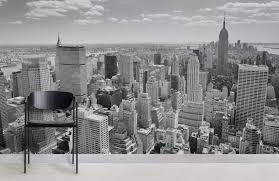 black white new york panorama city room wall