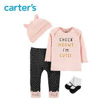 Carters Socks Size Chart 4pcs Babysoft Set With Polka Dots Kitty Face Pants Slogan