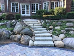 paver patio stone steps and stone retaining wall