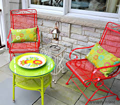 white iron outdoor furniture. Spray Painted Brightly Colored Wicker And Wrought Iron Patio Furniture Makeover White Outdoor E
