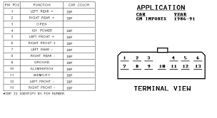 wiring diagrams and pinouts com alternator operation and wiring diagrams acircmiddot gm 1986 1991 stereo connector pinout