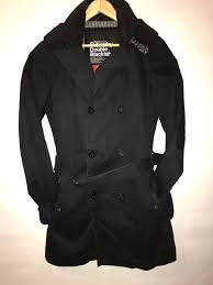 superdry uk official mens black superdry trench coat double black label size small black