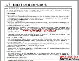 Toyota Engine 2RZ-FE;3RZ -FE EWD Repair Manual | Auto Repair Manual ...