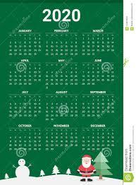 August Theme Calendar 2020 Calendar With Christmas Theme Vector Stock Vector