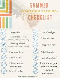 Summer Vacation Packing Checklist Vanessa In Dallas
