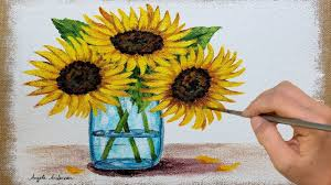 painting sunflowers in a mason jar on burlap canvas acrylic tutorial live
