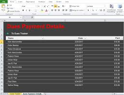 Monthly Dues Template Excel Club Dues Tracker Template Excel Tmp