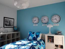 Blue Themed Boys Bedroom Ideas With White And Ligt Blue Walls Featuring  White Bed With Blue Retro Pattern Bed Cover Near Cool White Desk And Modern  White ...