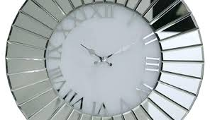 oversized roman numeral wall clock large white silver skeleton extra art and actors mirrored metal exciting w