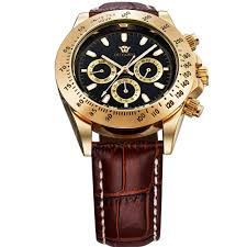 aliexpress com buy 10 meters water resistant men s automatic aliexpress com buy 10 meters water resistant men s automatic watch leather strap round gold black face watches top brand luxury hot products from