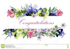 Congratulations With Spring Flowers Stock Illustration