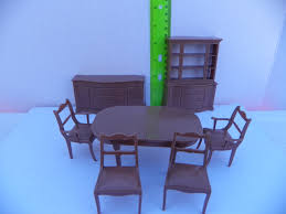 dollhouse dining room furniture. Vintage Marx Dollhouse Dining Room Furniture 6 Piece Set , Mansion Plastic Doll House Tin 1/16 1:16 3/4 Scale S