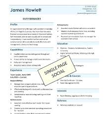 Single Page Resume Template Interesting Best One Page Resume Best One Page Resume Template Format Resume