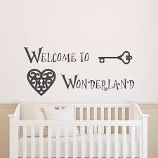 wall decal welcome to wonderland quote alice in wonderland wall decals murals nursery kids bedroom baby bedding wall art home decor approximate on alice wonderland wall art with welcome to wonderland wall decal alice in wonderland quotes wall