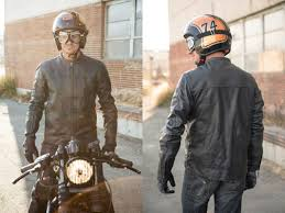 an all leather jacket available in black or the barfly has been inspired by leathers worn by vintage dirt tracker racers and features a relaxed fit