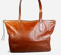 fossil sydney leather satchel bag brown