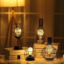 Wire Lights Bedroom Table Lamp Nordic Style Iron Art Decorative Lamp Battery Powered Led Wire Light For Living Room Bedroom Guest Room Bedside